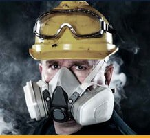 Mechanical working in dust mask.